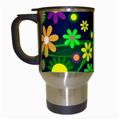 Flower Power Flowers Ornament Travel Mugs (white) by Sapixe