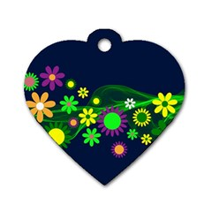 Flower Power Flowers Ornament Dog Tag Heart (two Sides) by Sapixe