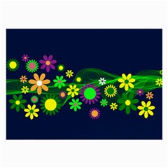 Flower Power Flowers Ornament Large Glasses Cloth (2 Side)