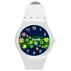 Flower Power Flowers Ornament Round Plastic Sport Watch (m) by Sapixe