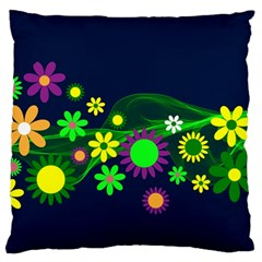 Flower Power Flowers Ornament Large Cushion Case (two Sides) by Sapixe