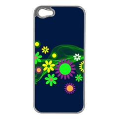 Flower Power Flowers Ornament Apple Iphone 5 Case (silver) by Sapixe