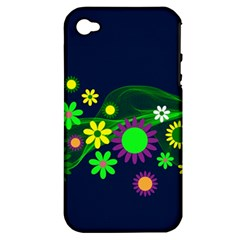 Flower Power Flowers Ornament Apple Iphone 4/4s Hardshell Case (pc+silicone) by Sapixe