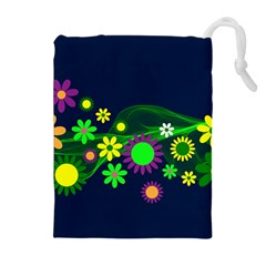 Flower Power Flowers Ornament Drawstring Pouches (extra Large) by Sapixe