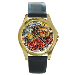 Flower Art Traditional Round Gold Metal Watch