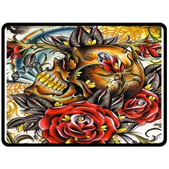 Flower Art Traditional Fleece Blanket (large)