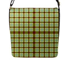 Geometric Tartan Pattern Square Flap Messenger Bag (l)  by Sapixe