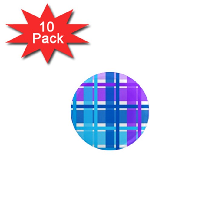 Gingham Pattern Blue Purple Shades 1  Mini Magnet (10 pack)