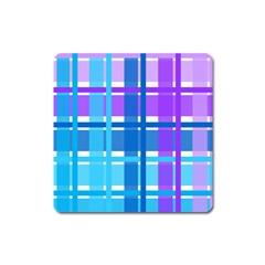 Gingham Pattern Blue Purple Shades Square Magnet by Sapixe