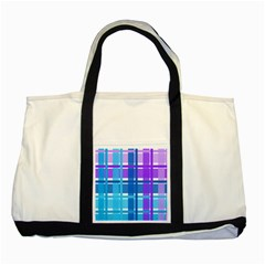 Gingham Pattern Blue Purple Shades Two Tone Tote Bag