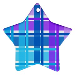 Gingham Pattern Blue Purple Shades Star Ornament (two Sides) by Sapixe