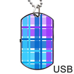 Gingham Pattern Blue Purple Shades Dog Tag Usb Flash (one Side)