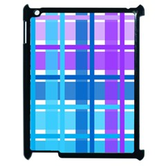 Gingham Pattern Blue Purple Shades Apple Ipad 2 Case (black) by Sapixe