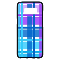 Gingham Pattern Blue Purple Shades Samsung Galaxy S8 Black Seamless Case by Sapixe