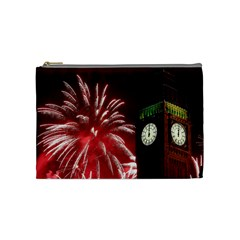 Fireworks Explode Behind The Houses Of Parliament And Big Ben On The River Thames During New Year's Cosmetic Bag (medium)  by Sapixe