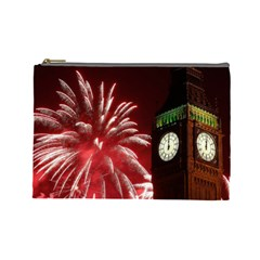 Fireworks Explode Behind The Houses Of Parliament And Big Ben On The River Thames During New Year's Cosmetic Bag (large)  by Sapixe