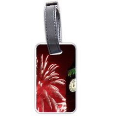 Fireworks Explode Behind The Houses Of Parliament And Big Ben On The River Thames During New Year's Luggage Tags (two Sides) by Sapixe