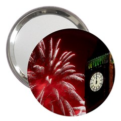 Fireworks Explode Behind The Houses Of Parliament And Big Ben On The River Thames During New Year's 3  Handbag Mirrors by Sapixe