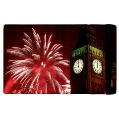 Fireworks Explode Behind The Houses Of Parliament And Big Ben On The River Thames During New Year's Apple Ipad 2 Flip Case by Sapixe