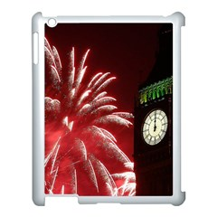 Fireworks Explode Behind The Houses Of Parliament And Big Ben On The River Thames During New Year's Apple Ipad 3/4 Case (white) by Sapixe