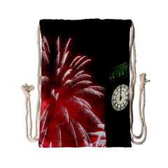 Fireworks Explode Behind The Houses Of Parliament And Big Ben On The River Thames During New Year's Drawstring Bag (small) by Sapixe