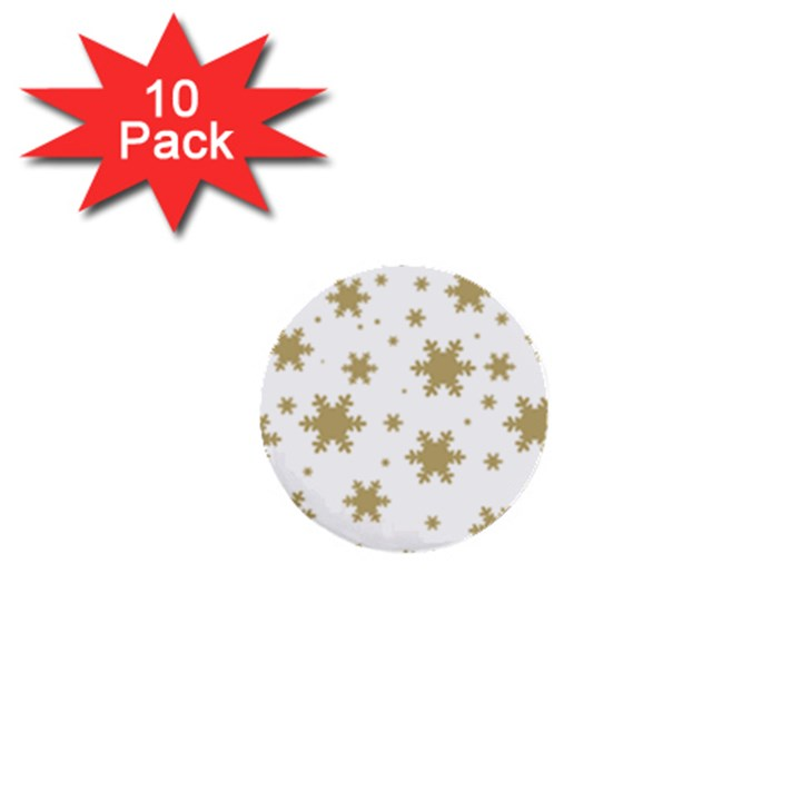 Gold Snow Flakes Snow Flake Pattern 1  Mini Buttons (10 pack)