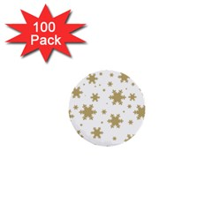 Gold Snow Flakes Snow Flake Pattern 1  Mini Buttons (100 Pack)  by Sapixe