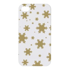 Gold Snow Flakes Snow Flake Pattern Apple Iphone 4/4s Hardshell Case by Sapixe