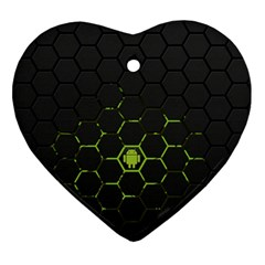 Green Android Honeycomb Gree Ornament (heart) by Sapixe