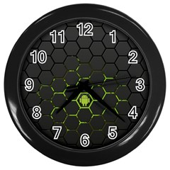 Green Android Honeycomb Gree Wall Clocks (black) by Sapixe