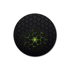 Green Android Honeycomb Gree Rubber Round Coaster (4 Pack)  by Sapixe