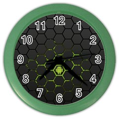 Green Android Honeycomb Gree Color Wall Clocks by Sapixe