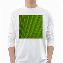 Green Leaf Pattern Plant White Long Sleeve T-shirts by Sapixe