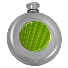 Green Leaf Pattern Plant Round Hip Flask (5 Oz) by Sapixe