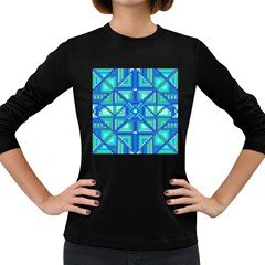 Grid Geometric Pattern Colorful Women s Long Sleeve Dark T Shirts