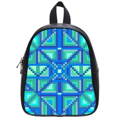Grid Geometric Pattern Colorful School Bag (small) by Sapixe