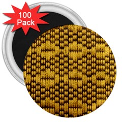 Golden Pattern Fabric 3  Magnets (100 Pack)