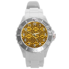 Golden Pattern Fabric Round Plastic Sport Watch (l) by Sapixe