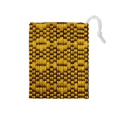 Golden Pattern Fabric Drawstring Pouches (medium)  by Sapixe
