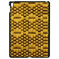 Golden Pattern Fabric Apple Ipad Pro 9 7   Black Seamless Case