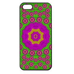 Decorative Festive Bohemic Ornate Style Apple Iphone 5 Seamless Case (black) by pepitasart
