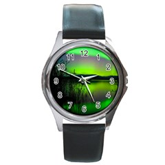 Green Northern Lights Canada Round Metal Watch by Sapixe