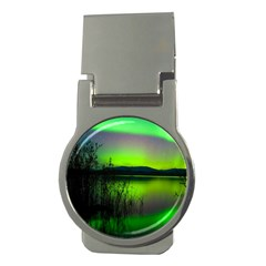 Green Northern Lights Canada Money Clips (round)  by Sapixe