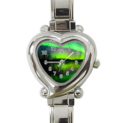 Green Northern Lights Canada Heart Italian Charm Watch by Sapixe