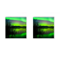 Green Northern Lights Canada Cufflinks (square)