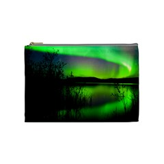 Green Northern Lights Canada Cosmetic Bag (medium)  by Sapixe