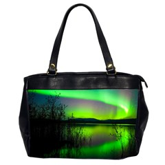 Green Northern Lights Canada Office Handbags (2 Sides)  by Sapixe