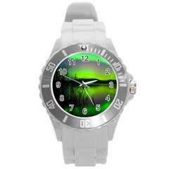 Green Northern Lights Canada Round Plastic Sport Watch (l) by Sapixe
