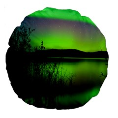 Green Northern Lights Canada Large 18  Premium Round Cushions by Sapixe