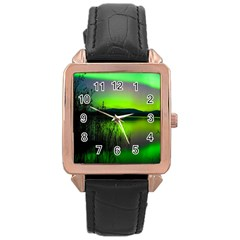 Green Northern Lights Canada Rose Gold Leather Watch